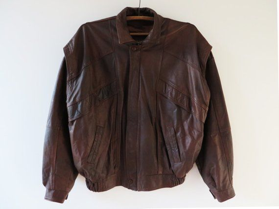 64ddbb5096bf4 Men s Jacket Online. Vintage 80s 90s Leather Bomber Jacket Brown Leather  Jacket Genuine Leather Jacket Cropped Motorcycle