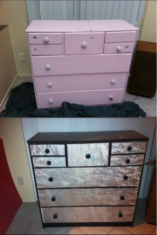 Refurbish Dresser Wallpaper Metallic Paint My Diy Pinterest Did This To Me Obsession