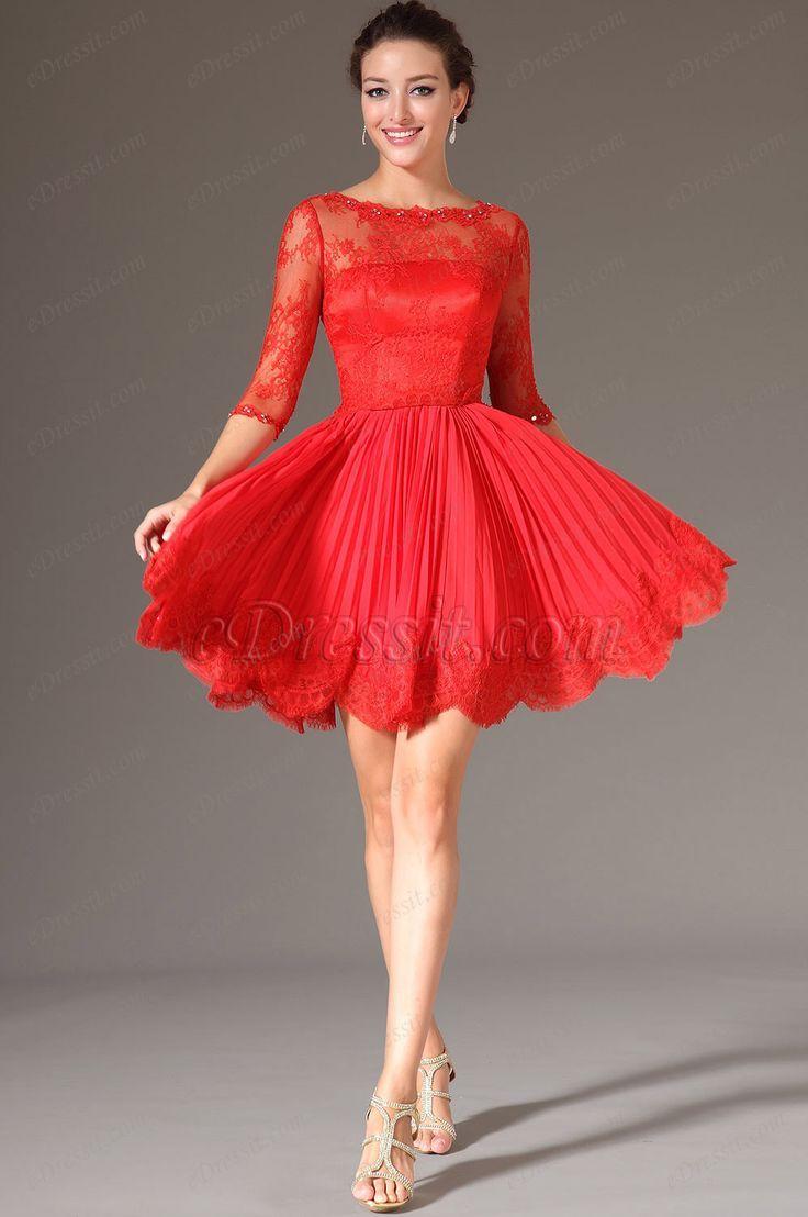 Vestidos elegantes cortos color rojo