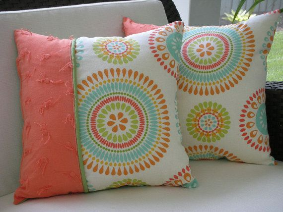 Decorative Accent Throw Pillow - 15 x15 Inch Reversible - Colorful Sun ...