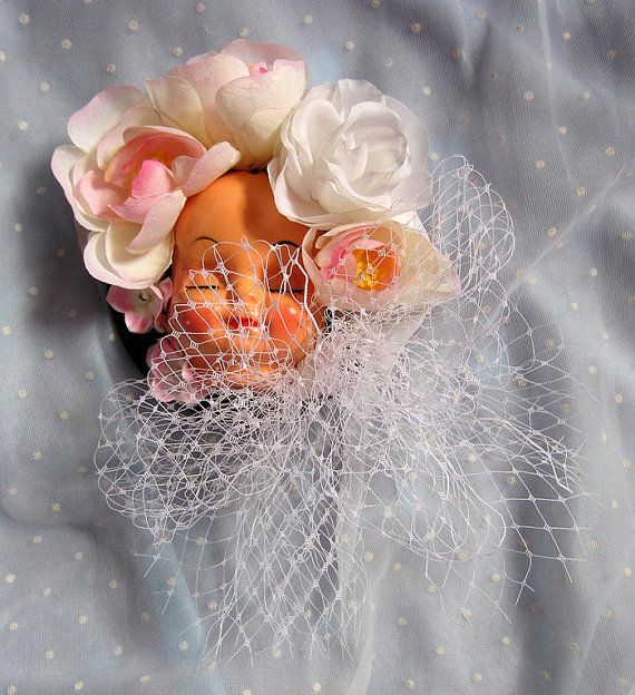 Dollface Fascinator Hat  White Bow by rascalkosher on Etsy, $55.00