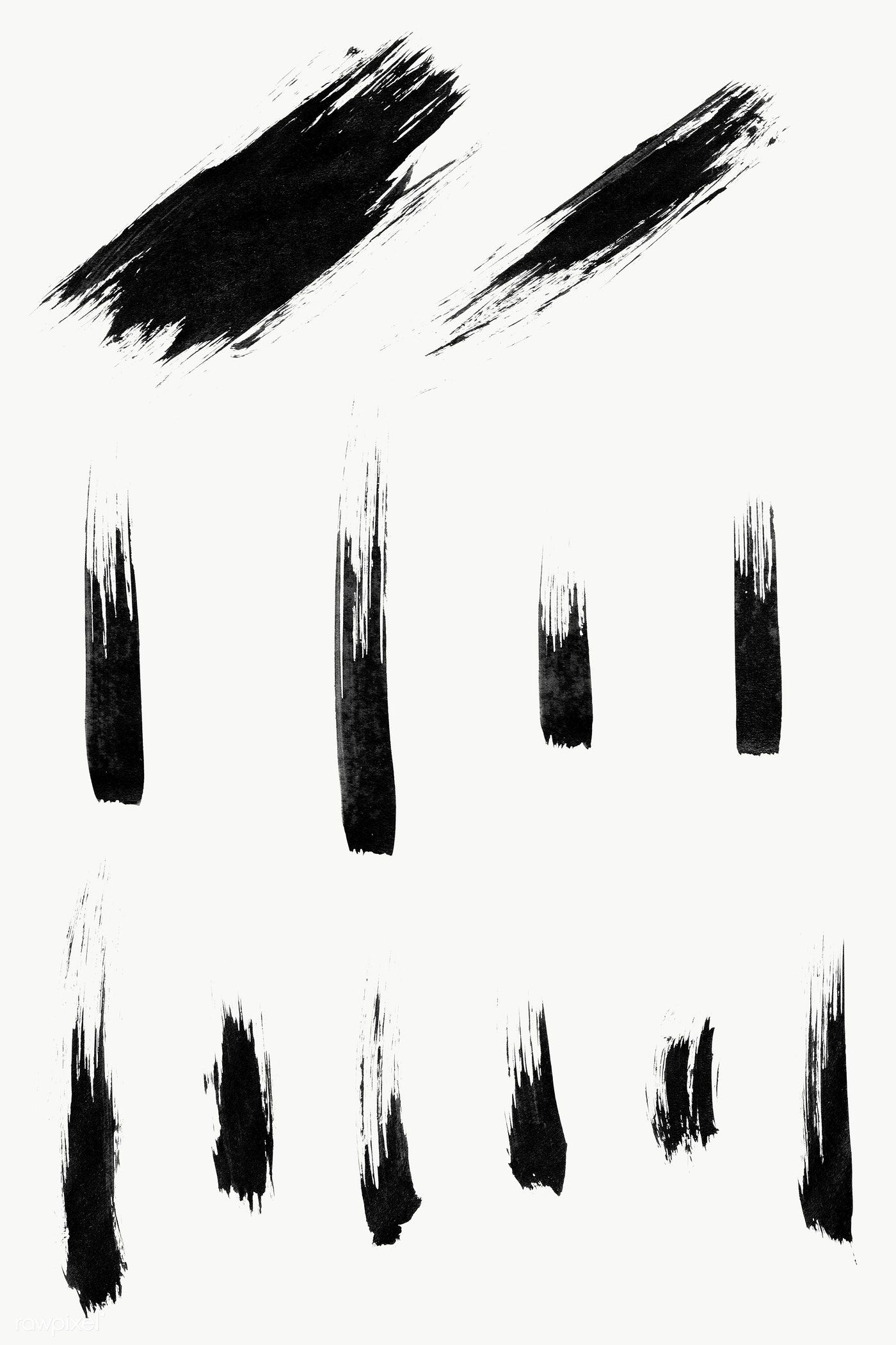 Abstract Black Brush Stroke Set Transparent Png Free Image By