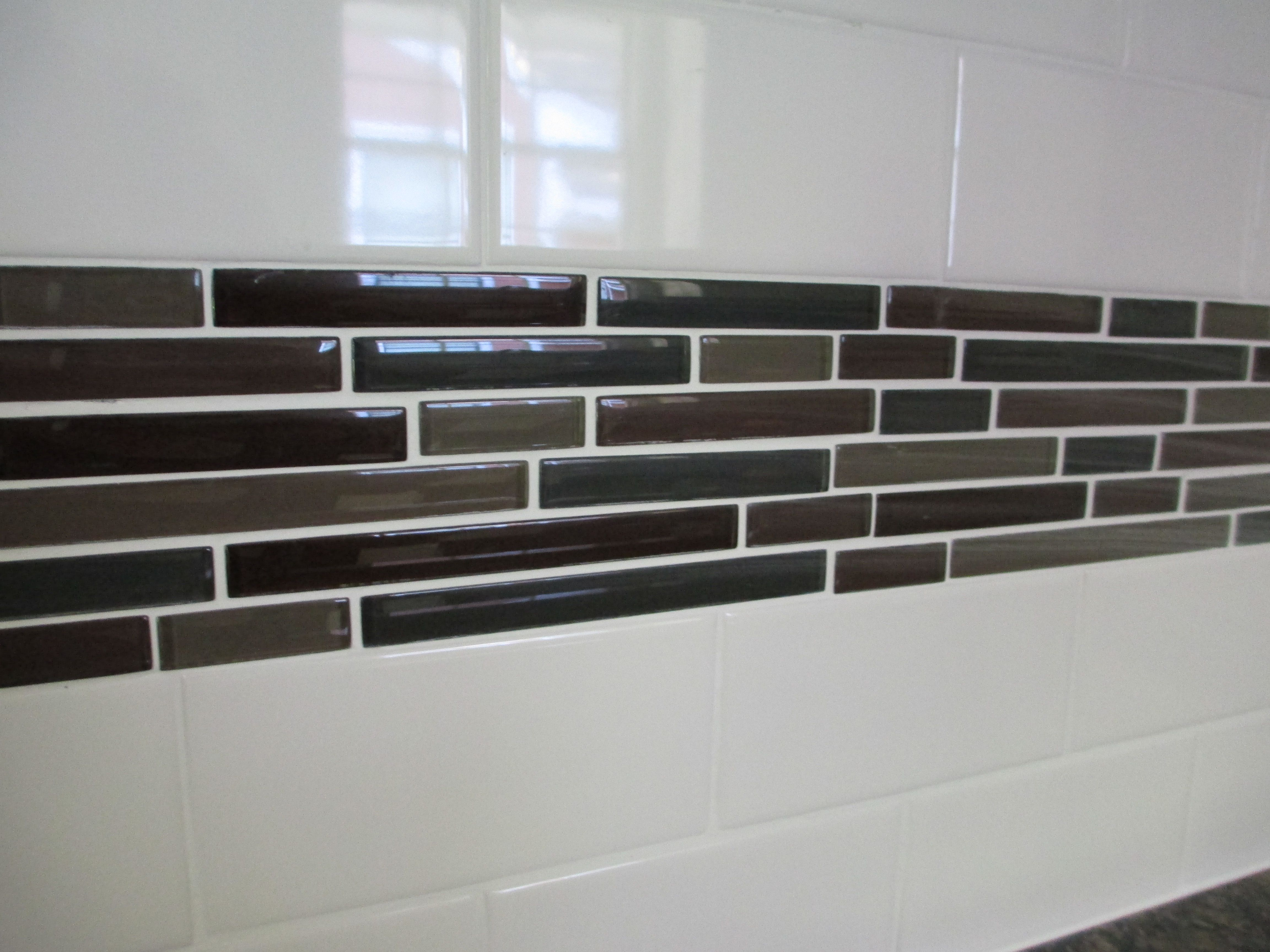 Backsplash ideas glass tile accents with white subway for White subway tile