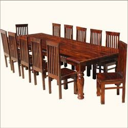 Large Solid Wood Rectangular Rustic Dining Table