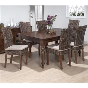 Jofran Urban Lodge 7 Piece Dining Set with Rattan Chairs 733-66+733-401KD
