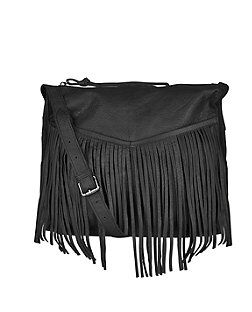 Black Premium Leather Fringed Bag from New Look £49,99
