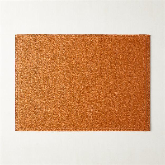 Saddle Faux Leather Placemat Reviews Cb2 Placemats Linen Placemats Faux Leather