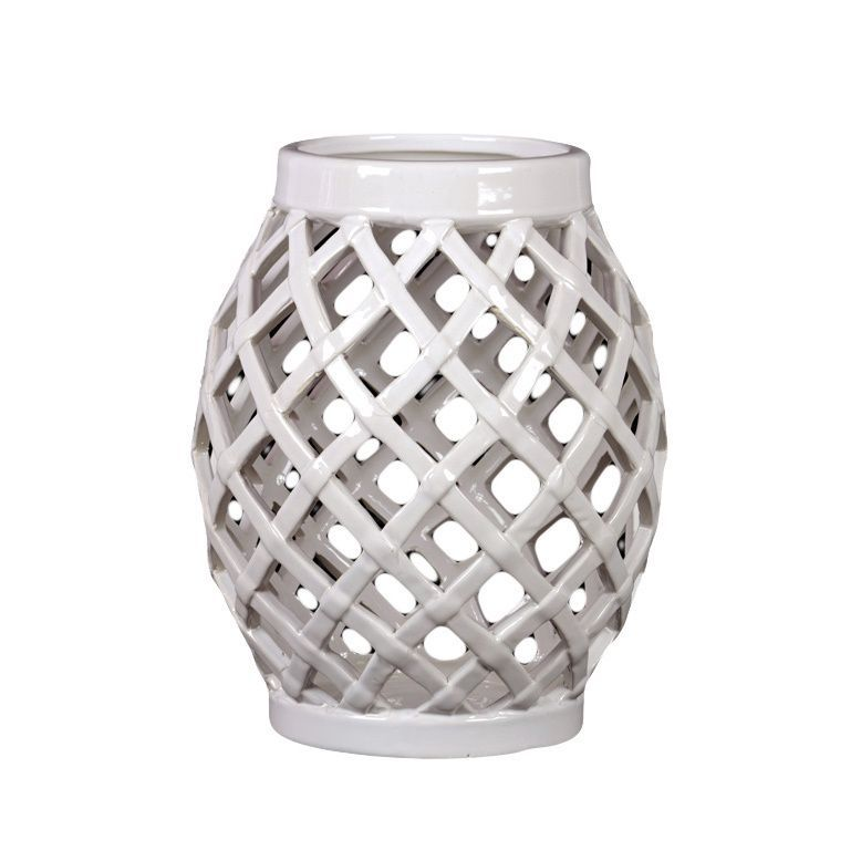 Urban Trends Collection White Ceramic Lantern (Ceramic Lantern White)