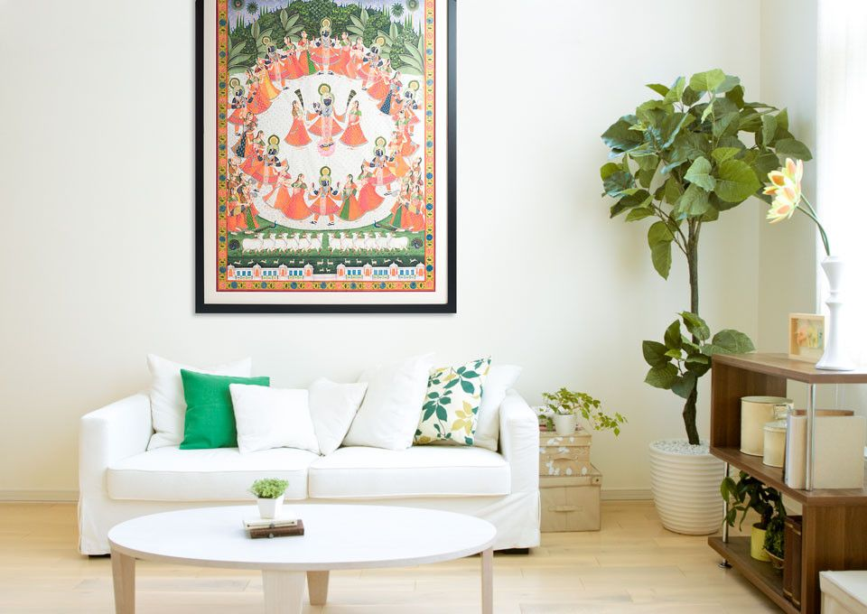 Pichavai Or Pichwai Paintings Are Large Cloth Paintings Traditional Hung Behind The Deity In Hindu Temples Th Indian Home Decor Indian Art Urban Living Room Living room means in hindi