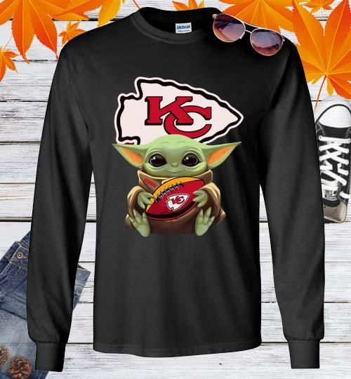 Baby Yoda Hug Kansas City Chiefs Football Unisex Long Sleeve Shirt