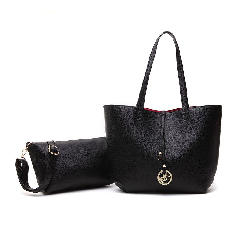 Michael Kors Large Leather Shoulder Tote Black