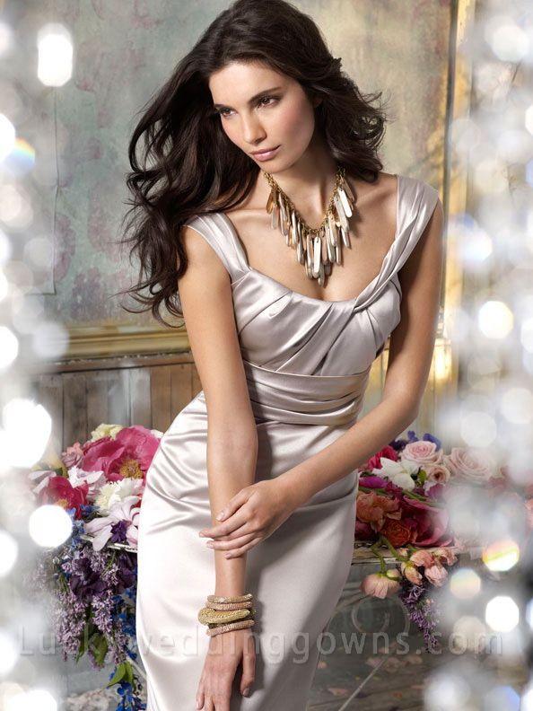 Silver Satin A-line Bridesmaid Dress