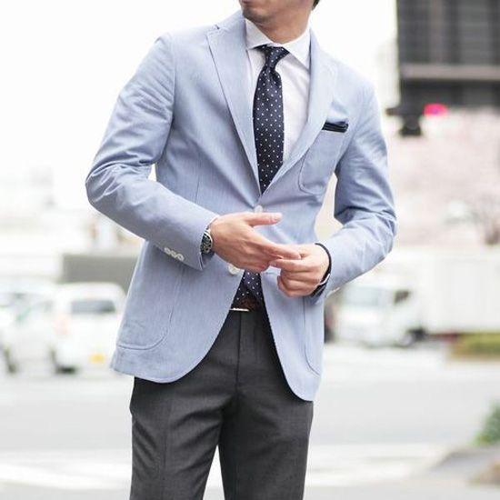 Light Blue Sport Coat White Buttons Silk Polka Dot Tie Light Blue Jacket Jackets Men Fashion Style