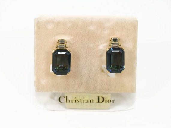Christian Dior Rhinestone Earrings Clip On Earrings by VintageGemz