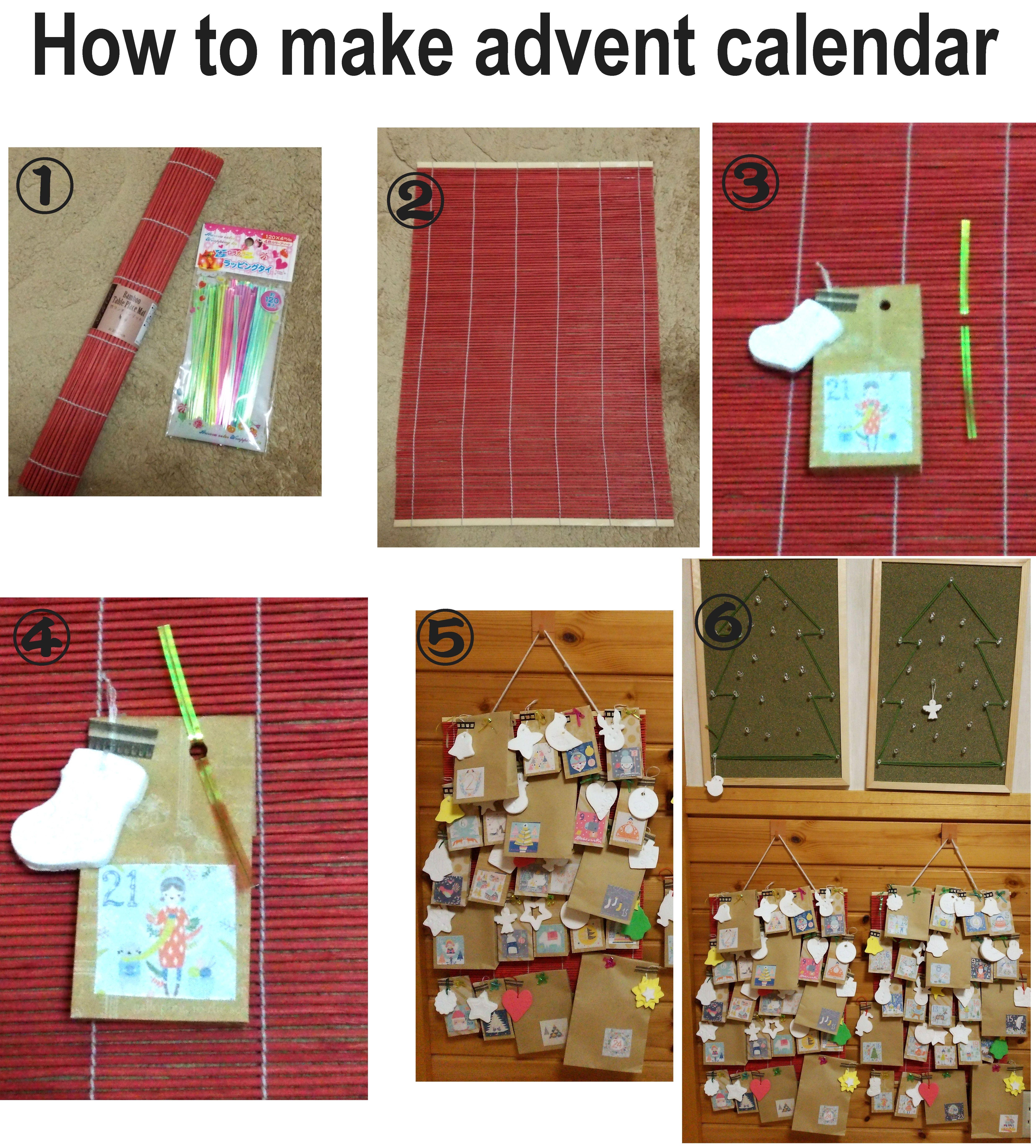 100均の竹ランチョンマットとラッピングタイでアドベントの袋を飾っていきます。どこにでもタイを通せるので好きなところに固定できます。ランチョンマットは巻きすでも代用できます。タイはモールやワイヤー+マステでも◎