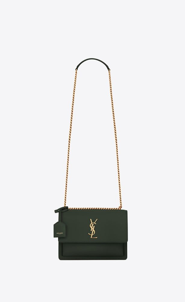 1078a78527a2 SAINT LAURENT Sunset Woman Medium Sunset bag in dark green leather a V4