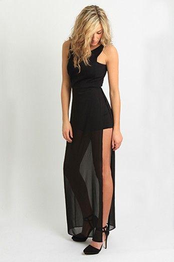 Bcbg Kenzi Maxi Length Dress With Shorts Romper Underneath