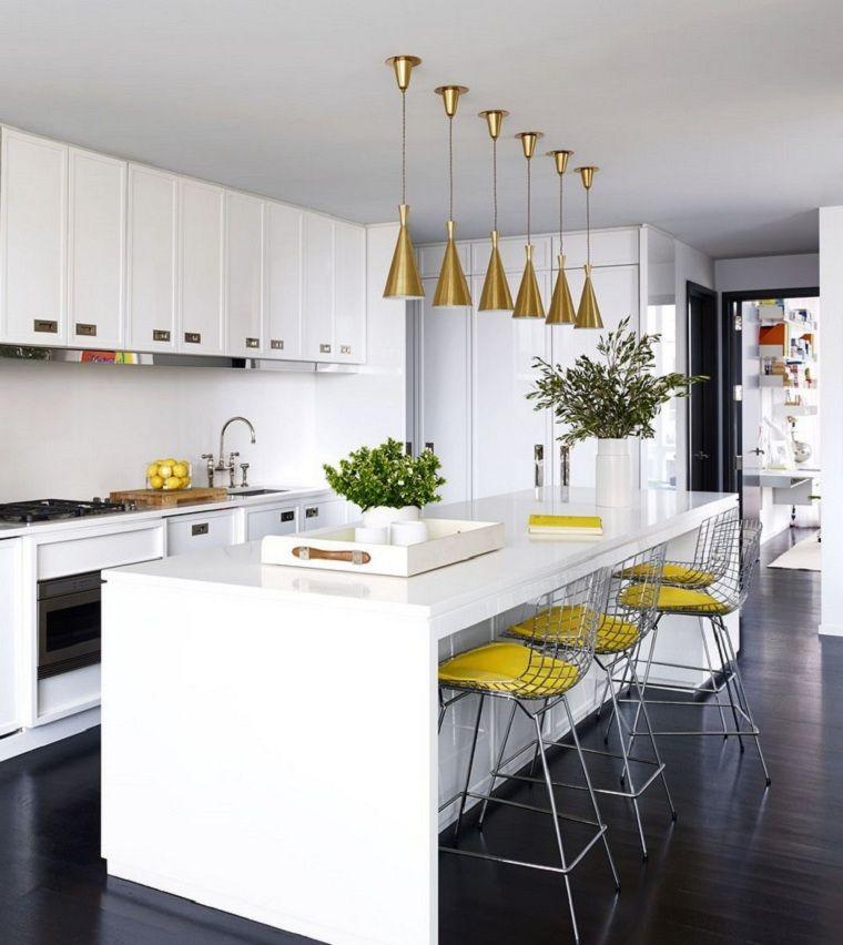 color amarillo-cocina-diseno-isla-sillas-opciones | cocina ...
