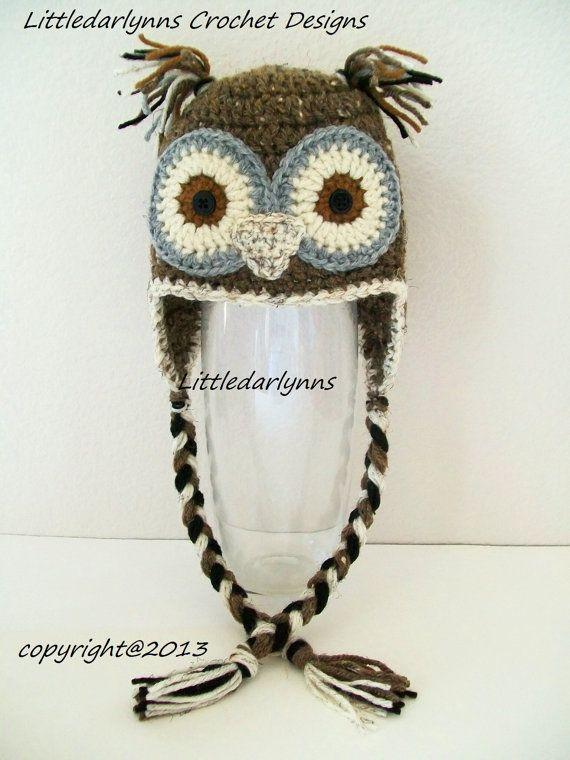 Crochet Brown Owl Hat Baby Toddler Childrens Adult Bird Hat Beanie ...