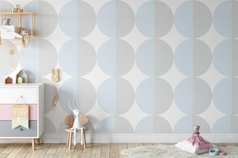 Mod Dots Wallpaper Peel And Stick Wallpaper Removable Etsy In 2021 Peel And Stick Wallpaper Removable Wallpaper Nursery Nursery Wallpaper