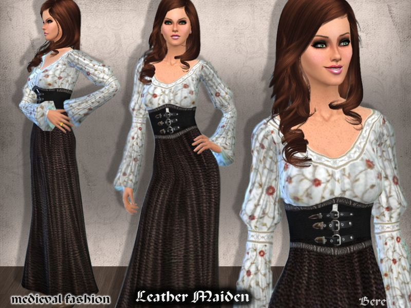 Recolor of a Medieval style dress.  Found in TSR Category 'Sims 4 Female Everyday'