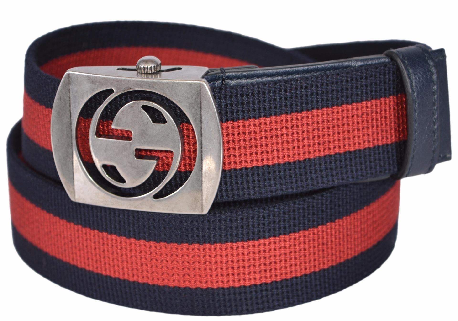 088e9a1d0 New Gucci Men's 387032 Blue Red Web Cut Out Palladium GG Belt 34 85. Free