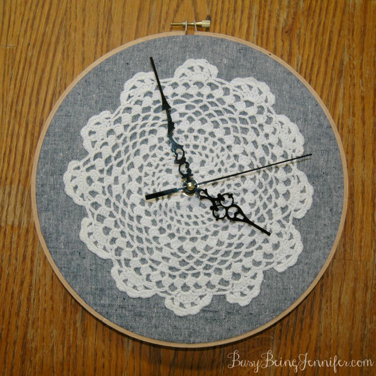 Vintage doily clock face by Busy Being Jennifer