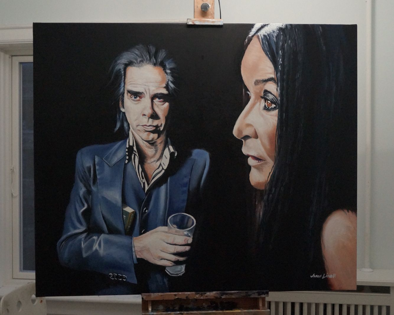 My portrait of Nick Cave and Annisette Koppel, painted as a commission by Tom Ingvardssn. Oil on canvas, 120 x 100 cm. #nick #cave #art #painting #jonas #linell #oil #canvas #portrait #artist