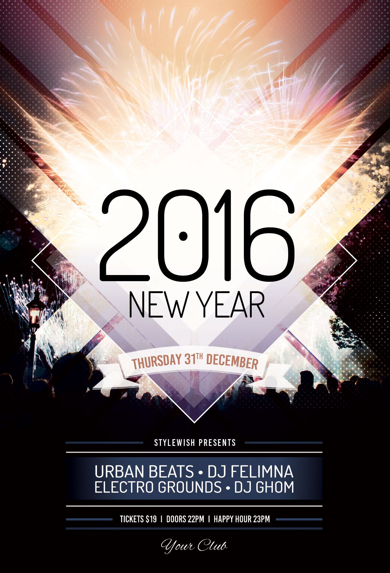 New Year Flyer Template Buy Psd File   Party Poster