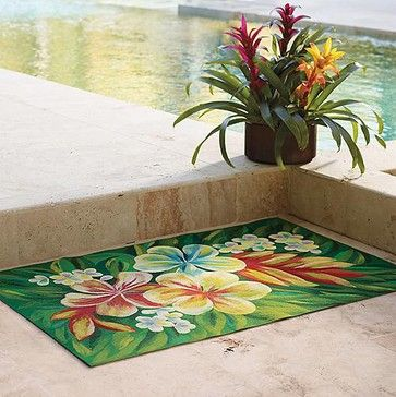 Superb Tropical Flower Indoor/Outdoor Rug   X Runner   Frontgate