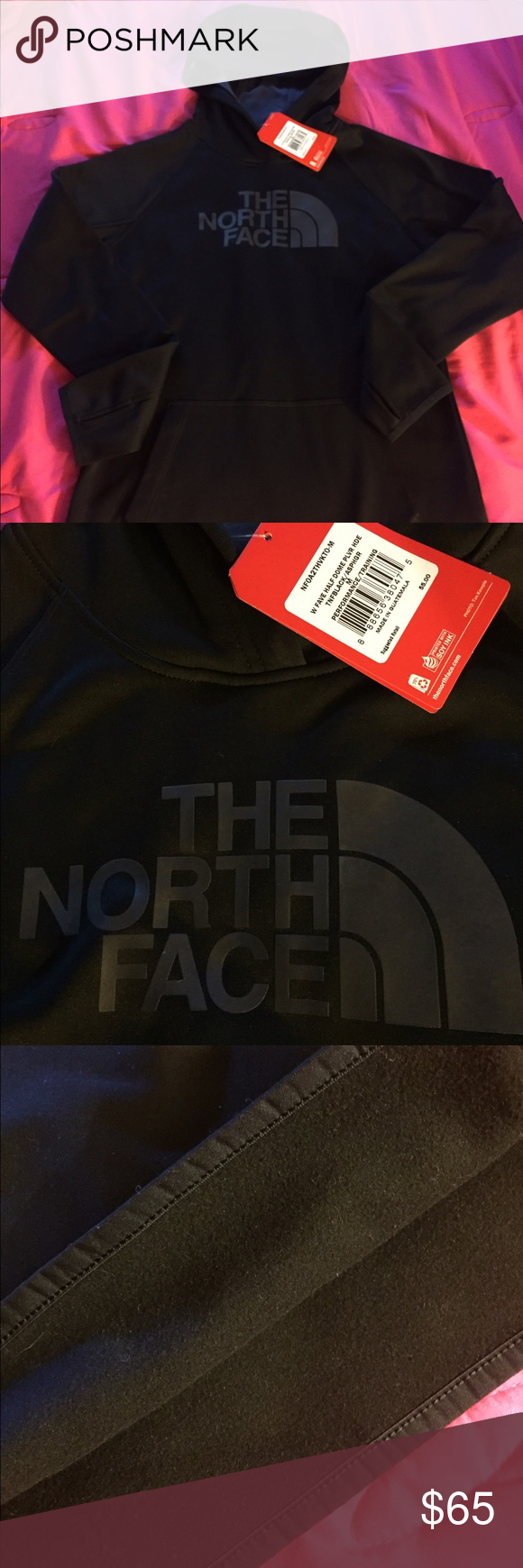 (NWT) Fleece Lined North Face Hoodie Gorgeous Black on Black Fleece lined North Face Hoodie has the arm holes is lined on the inside with fleece extremely warm brand new with Tags is a longer sweatshirt size medium it does cover top of my behind lol ! I just have way to many black hoodies ! 55$ retail I am asking a bit more posh takes 20% so will take a loss no matter what reasonable offers considered! please feel free to ask any questions I personally guarantee all of my items are as…