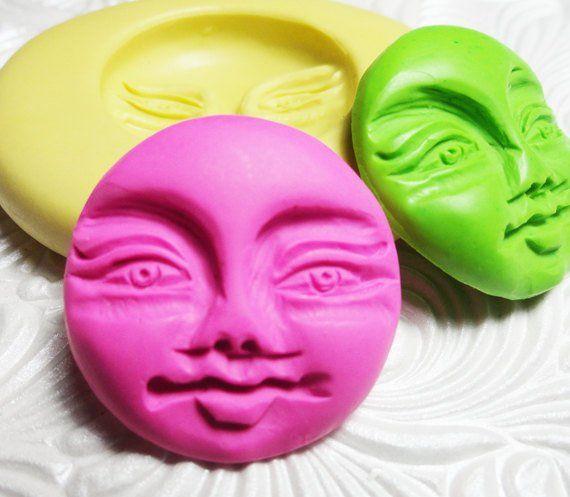 Moon Face Mold Flexible Silicone Push Mold for Resin Wax