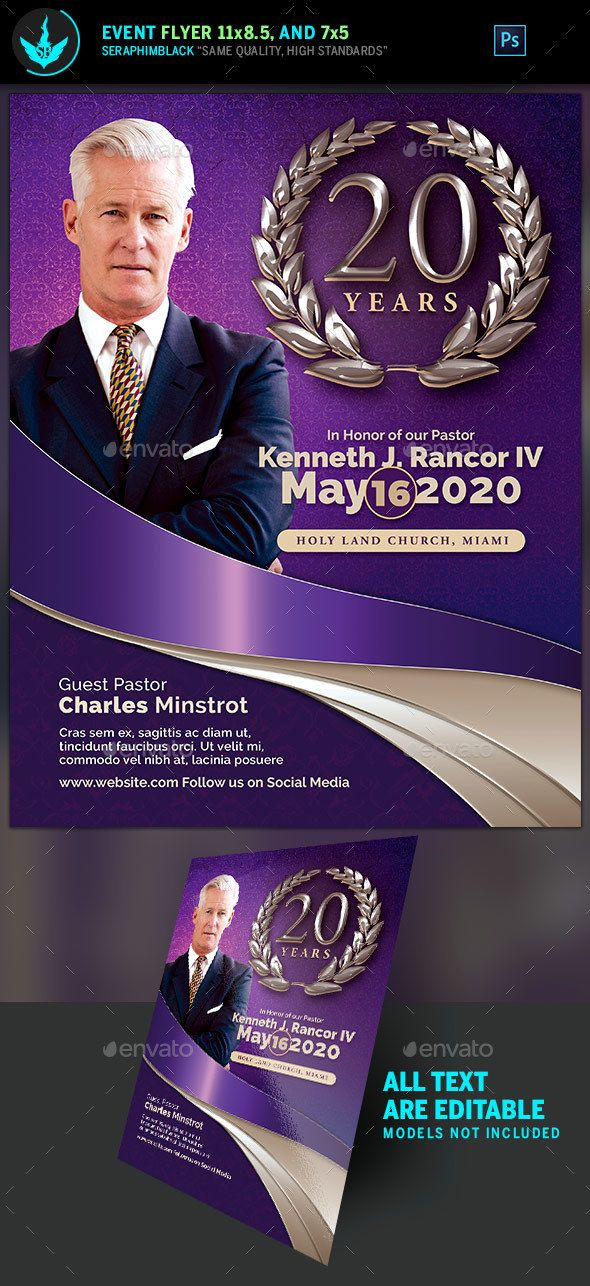 Lavender PastorS Anniversary Church Flyer Template  Flyer