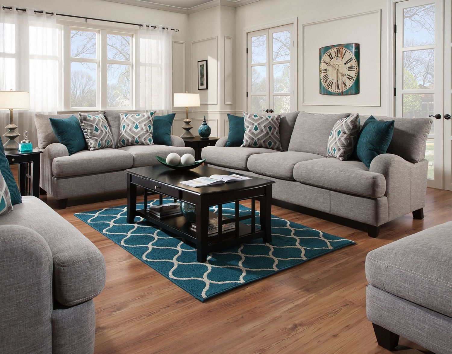 7 - The Paradigm Living Room Set - Grey  Teal living rooms