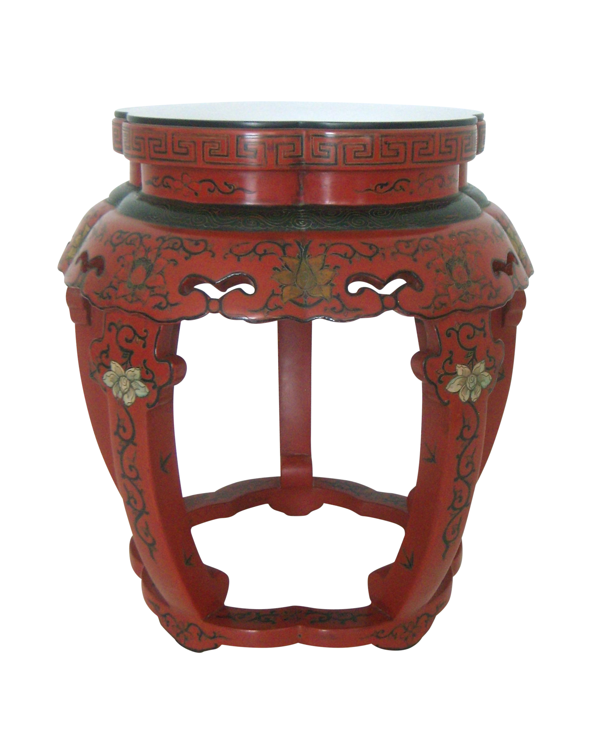 An Unusual, Eye Catching Red Lacquer Vintage Chinese Stool Or Side Table  Decorated With Bamboo, Birds, And Chrysanthemums On The Top, And Scrolling  Flowers, ...
