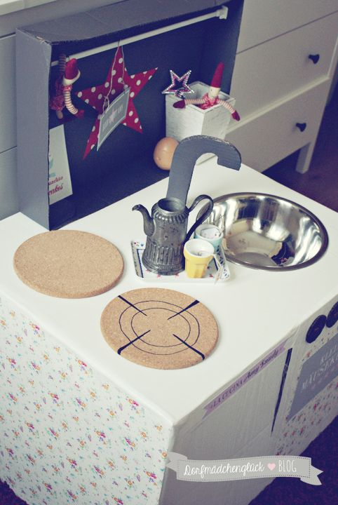 Kinderküche Diy dorfmädchenglück diy kinderküche aus kartons papphaus