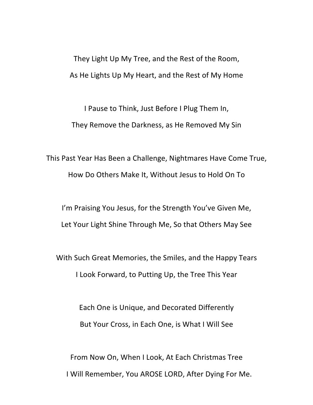 The Christmas Tree Poem By K Ross My Good Friend In