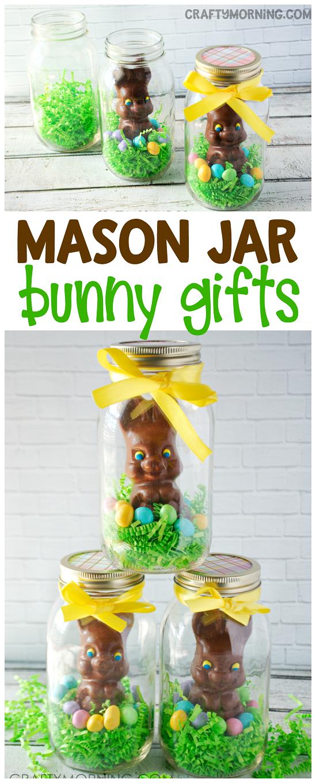 Mason jar chocolate easter bunny gift idea what a cute craft to mason jar chocolate easter bunny gift idea what a cute craft to make for your negle Gallery