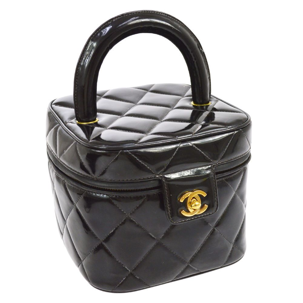 e49af2984a1f Authentic CHANEL Quilted CC Logos Cosmetic Vanity Hand Bag Black Patent  Leather. Color   Material Black  Patent Leather