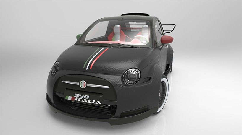 one-off fiat 550 italia concept powered by ferrari V8 engine