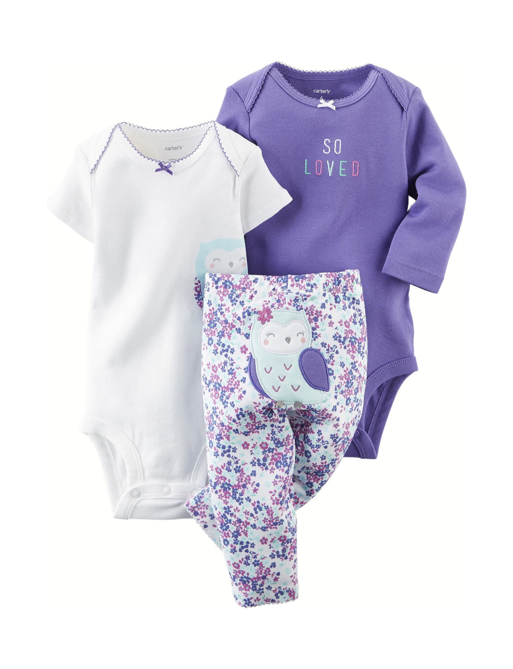 Shop today for Carter s 3 pc Owl So Loved Bodysuit Set – Baby 0 12