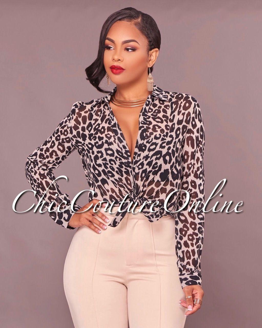 0e282ebf31 Autumn Semi-Sheer Leopard Print Blouse