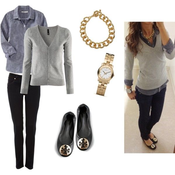 Grey sweater with denim or chambray shirt and black jeans   My Style   Pinterest   Chambray ...