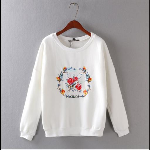 بلوفرات بناتي بتطريز أغصان الورد Fashion Sweatshirts Sweaters