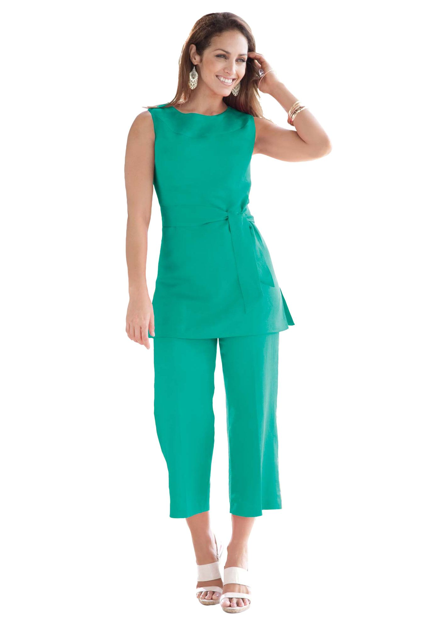 Linen Blend Capri Set | Plus Size Suits & Sets | Jessica ...
