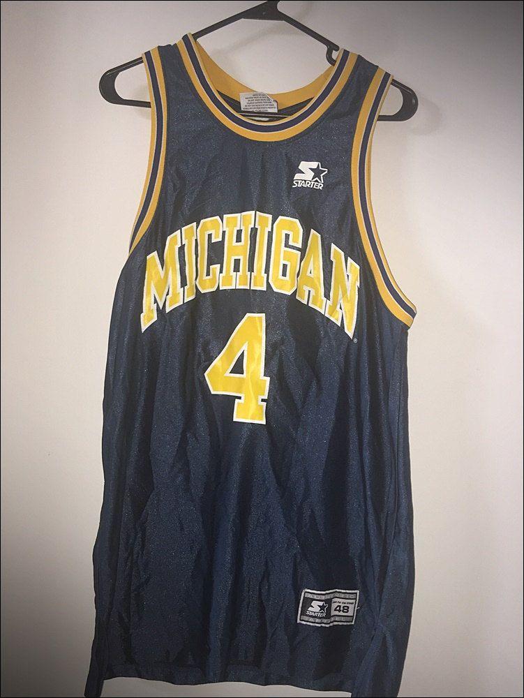 huge selection of cf465 e2709 Vintage 90's Starter NCAA Michigan Wolverines Chris Webber ...