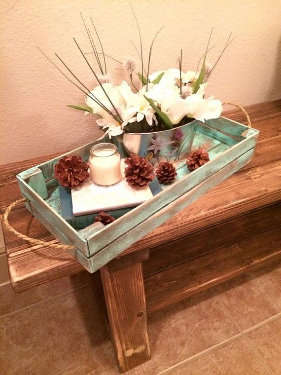 Distressed Turquoise Decorative Tray Rustic Decor Coffee Table Countertop Shelf
