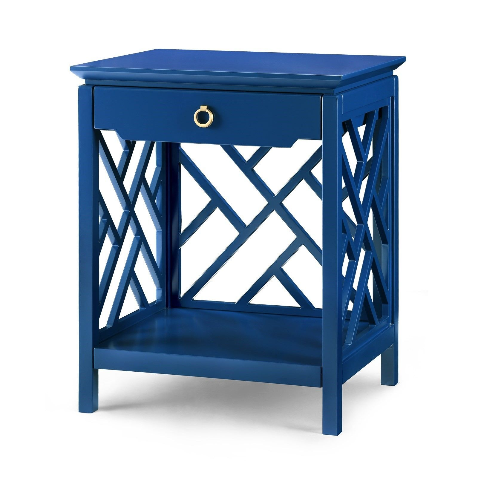 Amazing Bungalow 5 Nantucket Chippendale Fretwork 1 Drawer Side Table In Blue