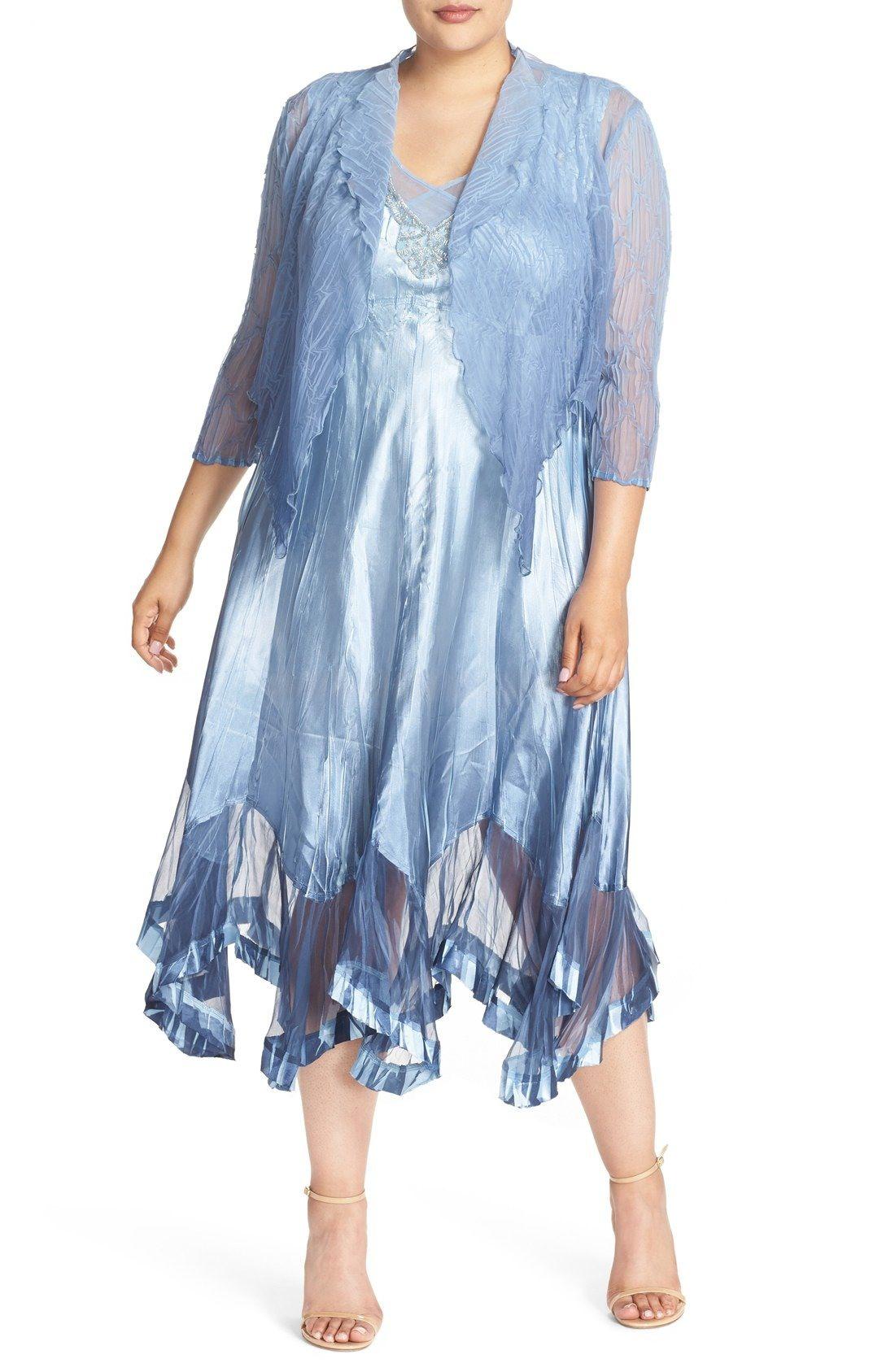Komarov Embellished V-Neck Charmeuse Dress with Chiffon Jacket (Plus ...