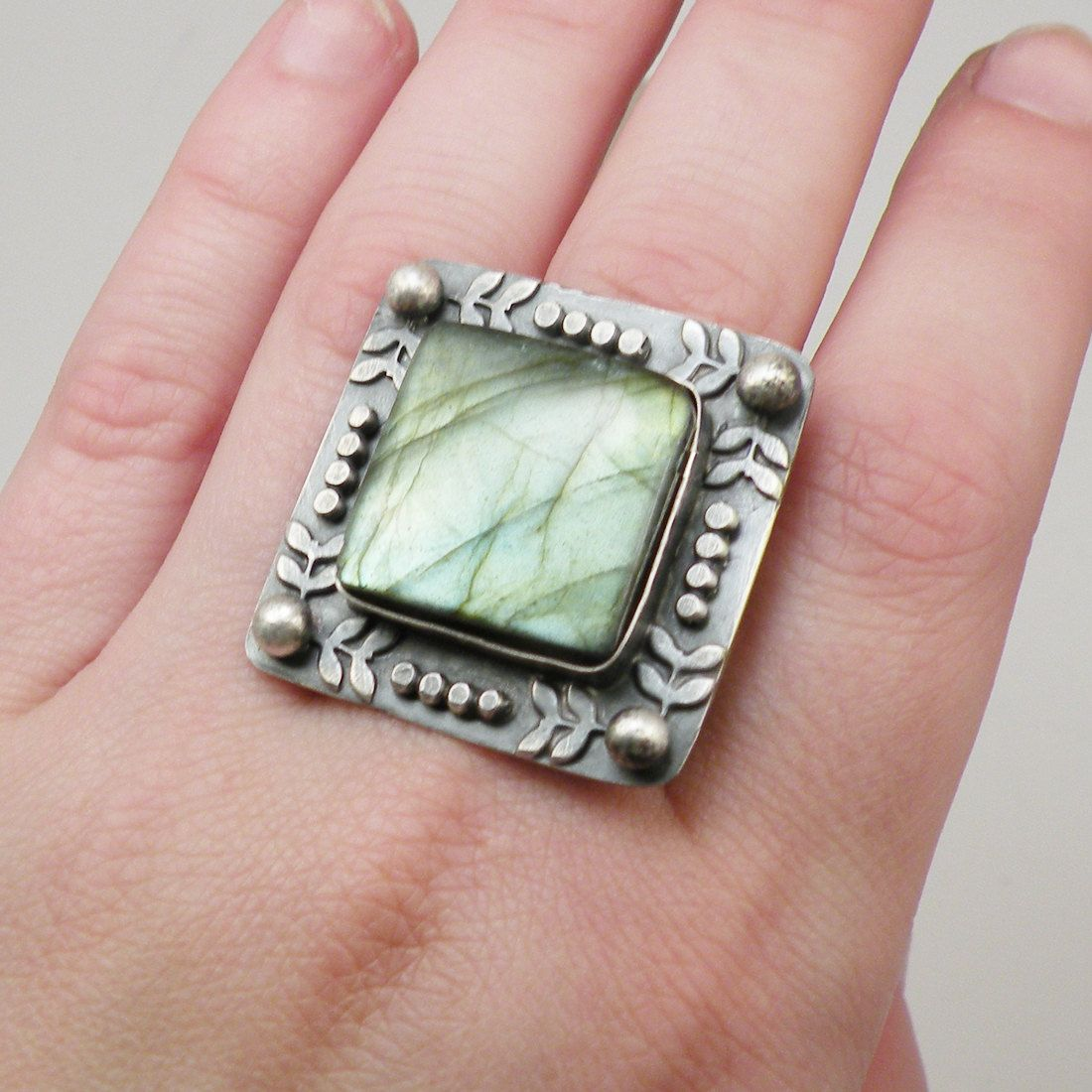 Labradorite Ring Sterling Silver Chunky Stone Nautical Leaf Custom ...